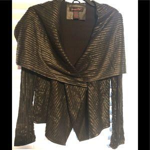 Black Leather Textured Crisscrossed Jacket Coat
